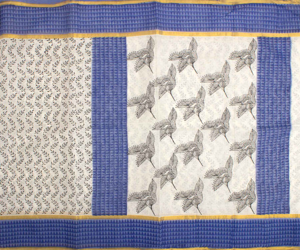 Blue and White Bengal Cotton Saree
