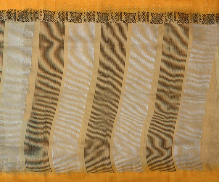 Sandal and Yellow Manipur Cotton Saree with Block Print - With Blouse