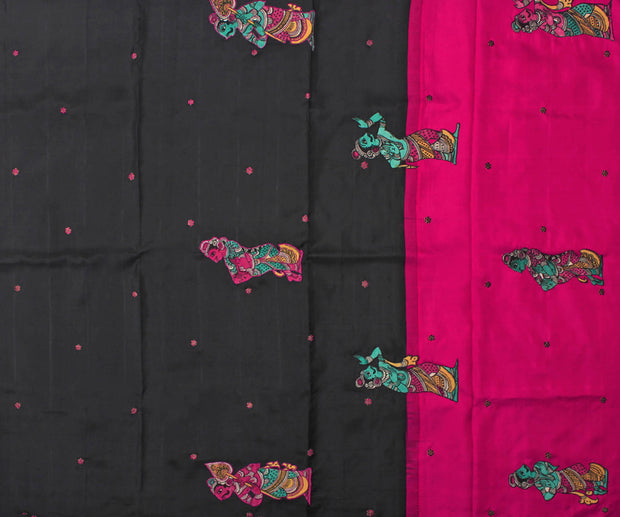 Black Kanchi Silk Saree with Hot Pink Pallu Crafted with Kalamkari Applique - With Blouse