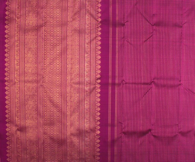 Purple with Guava Half and Half Kanchi Silk Saree with Purple Pallu