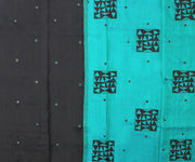 Black Kanchi Silk Saree with Blue Pallu Crafted with Tile Design Applique - With Blouse