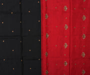 Black Kanchi Silk Saree with Red Pallu Crafted with Twin Bird Kundan Embroidery - With Blouse