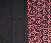 Black Kanchi Silk Saree with Hot Pink Pallu Crafted with Floral Banarasi Cutwork - with Blouse