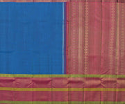 Blue Kanchi Silk with Multicolour Zari Long Border and Attached Blouse