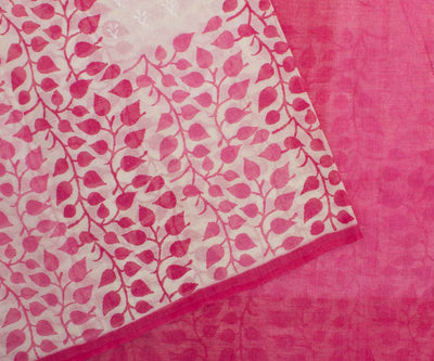 Pink Hand Block Printed Bengal Cotton Saree And Attached Blouse