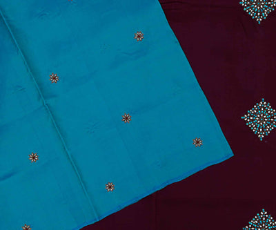 Turquoise Blue Kanchi Silk Saree With Small Floral Butta And Brown Pallu Crafted With Jewellery Butta Embroidery