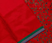 Red Kanchi Silk Saree Crafted with Creeper Design Embroidery in Pallu and Blouse