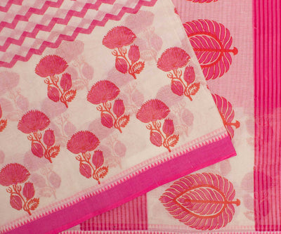 Pink and Orange Hand Block Printed Bengal Cotton Saree