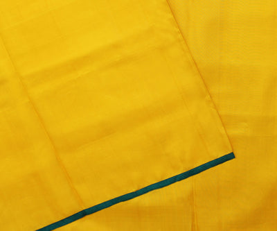 Yellow Kanchi with Blue Tussar Half and Half Saree