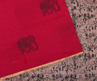 Red Net Saree With Kalamkari Print and Blouse