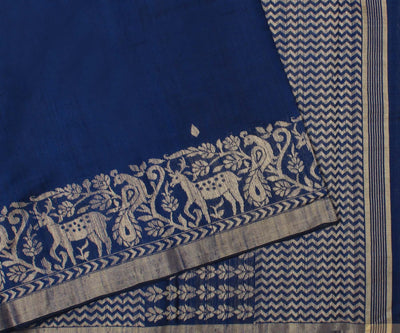Royale Blue Color Raw Silk Thread Work Saree with Blouse