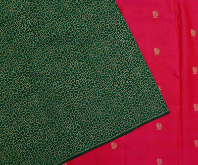 Green Geometrical Design with Pink Mayil Butta Half and Half Kanchi Silk Saree
