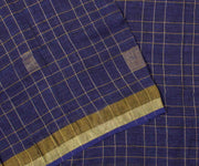 Royal Blue Checked Linen Saree with Gold Border and Blue Blouse