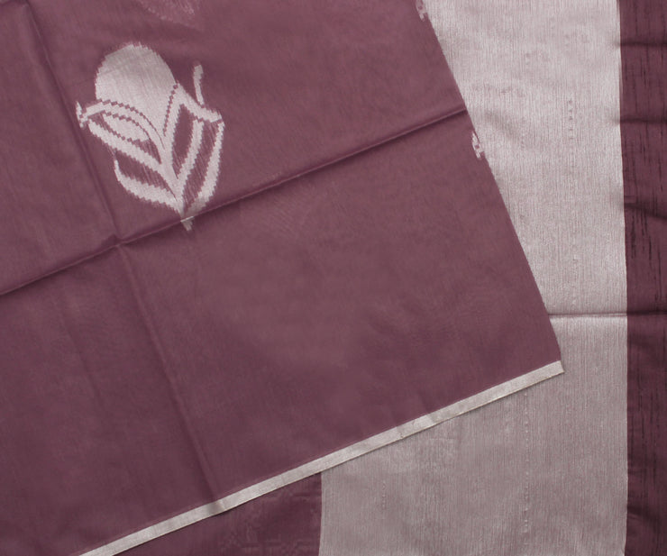 Light Wine Linen Saree with Attached Blouse