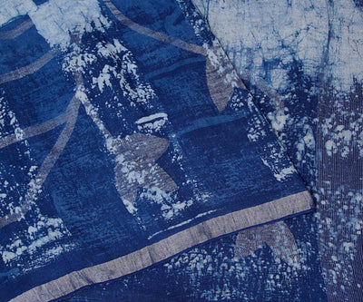Indigo Linen Saree with Zari Border and Pallu