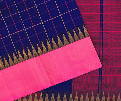 Royal Blue Checked Cotton Saree With Pink Kanchi Temple Border
