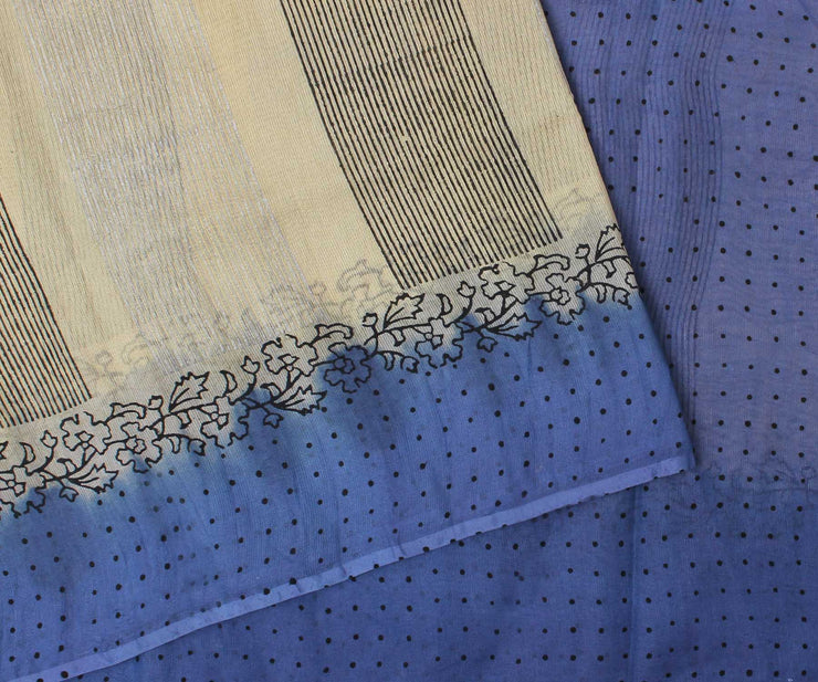Sandal and Sapphire Blue Manipur Cotton Saree with Block Print - With Blouse