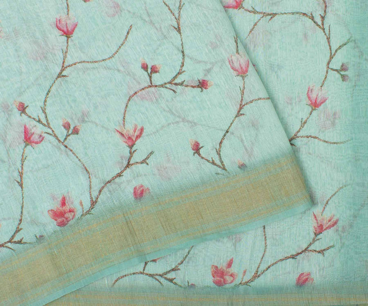 Sky Blue Linen Saree With Floral Print and Blouse
