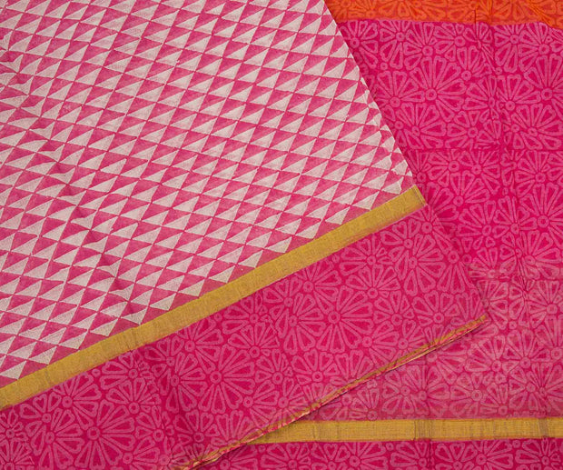 Pink and White Hand Block Printed Bengal Cotton Saree