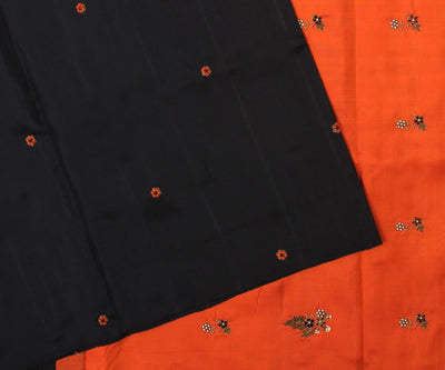 Black Kanchi Silk Saree With Orange Pallu Crafted With Antique Zardosi And French Knot-With Blouse