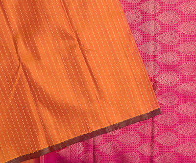 Fire Yellow Kanchi Silk Saree With Rose Blouse  And  Paisley Butta Highlights