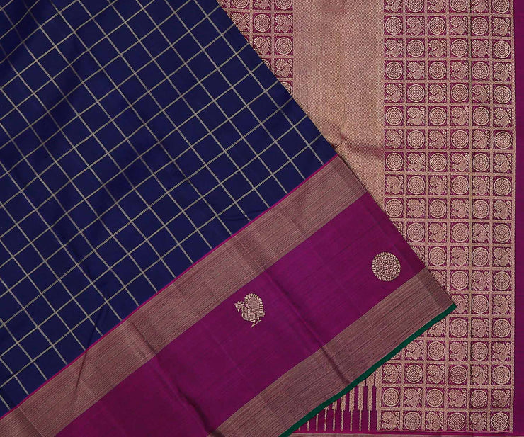 MS Blue Kanchi Silk Saree with Zari Checks and Mayilchakaram Buttas in Purple Border and Pallu