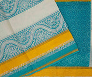 Blue and Mustard Hand Block Printed Bengal Cotton Saree