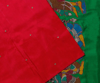 Red Kanchi Silk Saree in Copper Embroidery And Dancing Doll In Pallu
