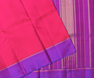 Red Kanchi Silk Saree With Purple Pallu