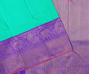 Turquoise Blue Kanchi Silk Saree With Floral Purple Long Border