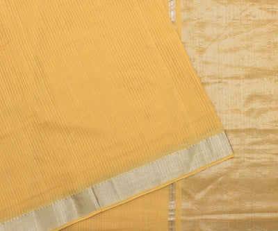Mustard Mangalgiri Cotton Saree - With Blouse