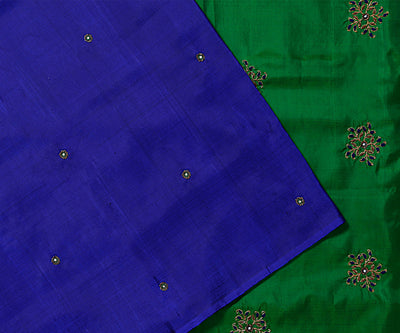Blue Colour Kanchi Silk Saree with Bottle Green Pallu Crafted with Floral Embroidery