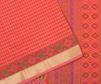 Peach Multi Printed Cotton Saree and Peach Blouse