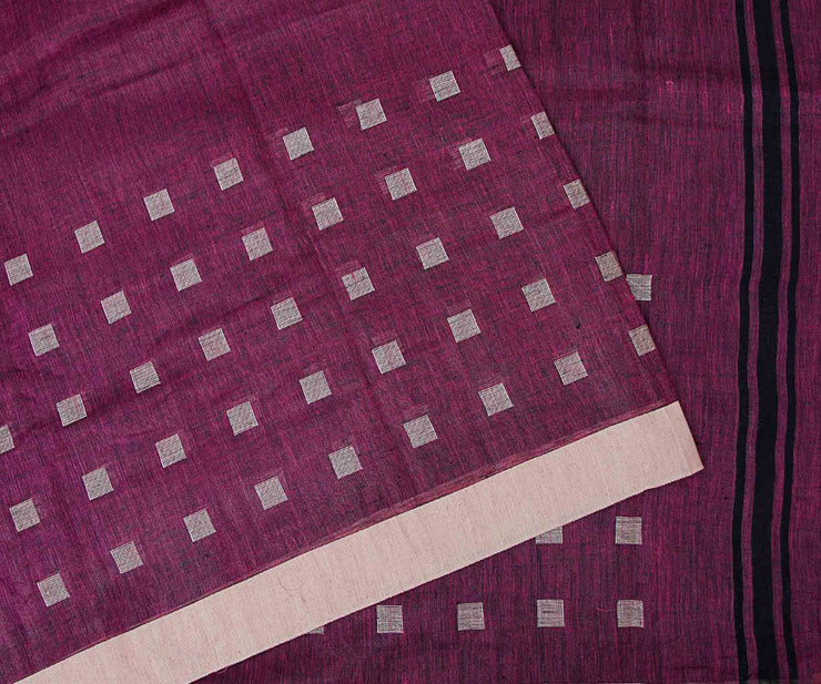Meganta Linen Saree With Border