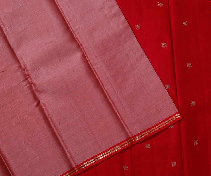 Peach Colour Kanchi Organza Saree with Red Pallu and Blouse in Silk