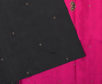 Black Kanchi Silk Saree With Hot Pink Pallu Crafted With Butterfly Embroidery-With Blouse