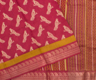Pink Tussar Saree With Camel Print And Zari Border And Attached Blouse