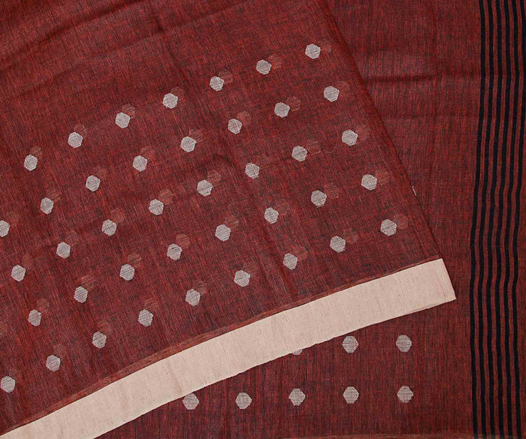 Maroon Linen Saree With Border