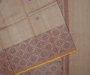 Natural Color Woven Tussar Saree With Maroon Border