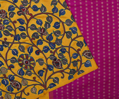 Tri-color Kanchi Silk Saree Crafted with Kalamkari Applique