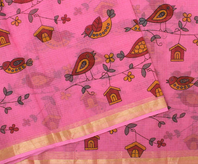 Pink Kota Saree With  Birds Print-With Blouse