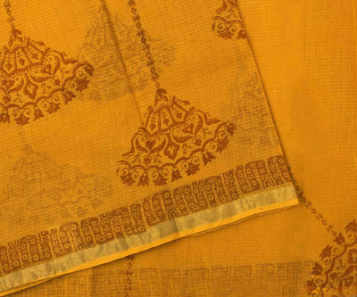 Marigold Manipur Cotton Saree with Block Print - With Blouse
