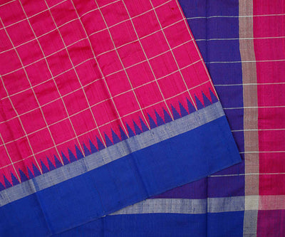 Magenta and Blue Dupion Silk Saree