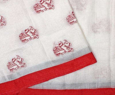 Ivory and Red Linen Saree with Bull Embroidery and Attached Blouse