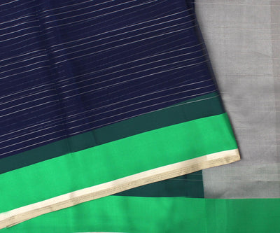Black and Green Organza Saree With Attached Blouse