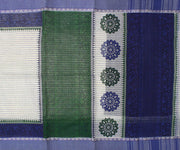 White Striped Bengal Cotton Saree With Oxford Blue Blouse