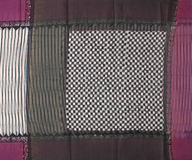 Off White Striped Cotton Saree With Deep Magenta Blouse