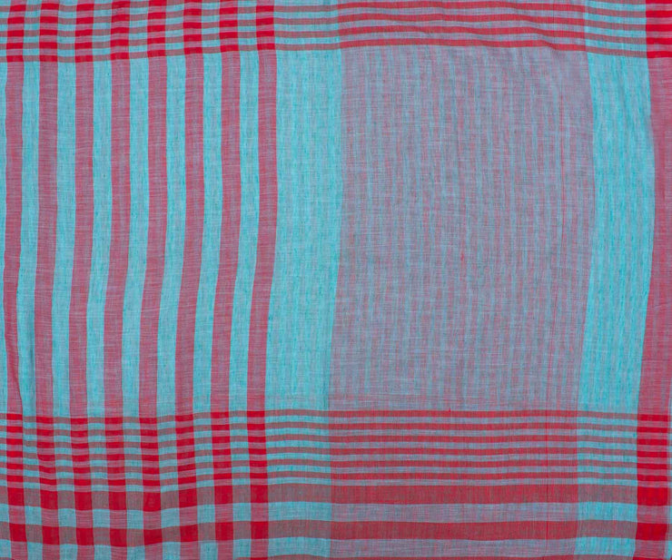 Red and Blue Checked Linen Saree with Blouse