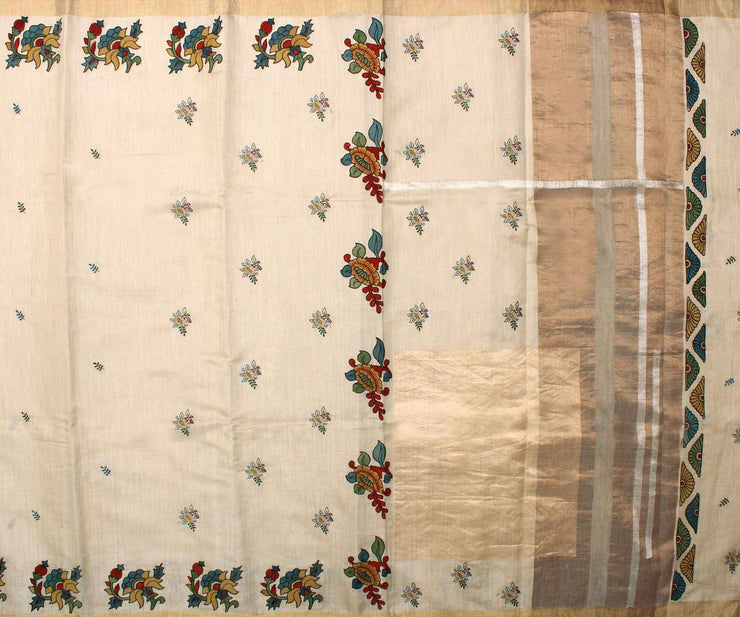 Sandal Tussar Saree with Kalamkari Applique and Attached Blouse