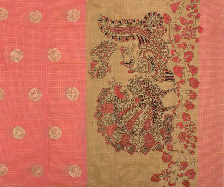 Pink Checked Cotton Saree with Gold Peacock Print and Blouse